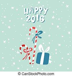 新年, 賀卡, 由于, a, 圖片, ......的, 圣誕節禮物, 以及, candies.