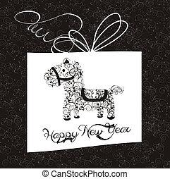 新年, 贺卡, 带, horse.