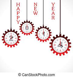 新年, 问候, 带, 齿轮