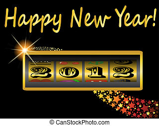 新年, 2012, 中に, スロットマシン
