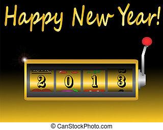新年, 2013, 中に, スロットマシン