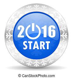 新年, 2016, 青, アイコン, クリスマス, ボタン, 元日, シンボル