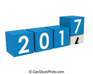 新年, 2017, ブロック, 中に, 青