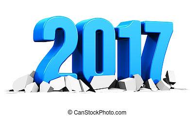新年, 2017, 假期, 概念
