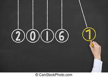 新年, 2017, 能量, 概念