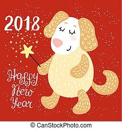 新年, 2018, グリーティングカード, ∥で∥, 犬