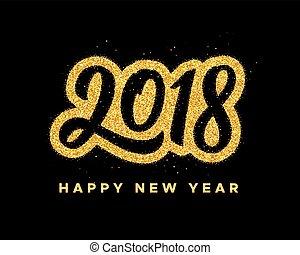 新年, 2018, グリーティングカード, デザイン