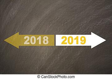 新年, 2019, 上に, ∥, 黒板