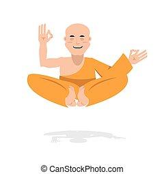 新手, 沉思, 橙, man., 禿頭, 僧侶, 佛教徒, 啟迪, 隱士, yoga., robe., 信奉瑜伽者, position., 蓮花, 西藏人