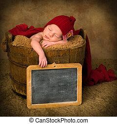 新生, 型, スレート, 赤ん坊