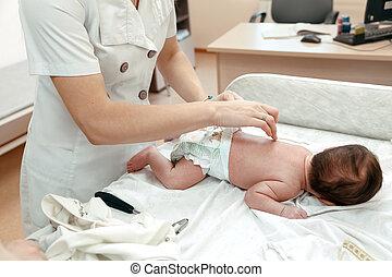 新生, 検査, 小児科医, littlle, 赤ん坊