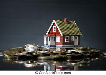 新的房子, 以及, 簽, ......的, 錢。