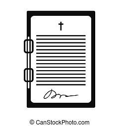 新約聖書, 単純である, 黒, 手紙, アイコン
