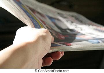 新聞, 上に, 手