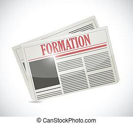 新聞, 形成, デザイン, イラスト