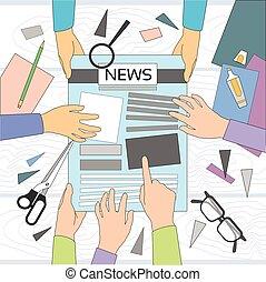 新聞, 手, 記事, ワークスペース, 作成, 作成, 執筆, クルー, ニュース, チーム, グループ, 机, 編集者...
