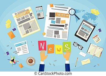 新聞, 記事, ワークスペース, 作成, 作成, 執筆, ニュース, 机, 編集者, 概念, ジャーナリスト