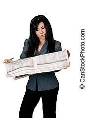 新聞, reading., 女, 開いた