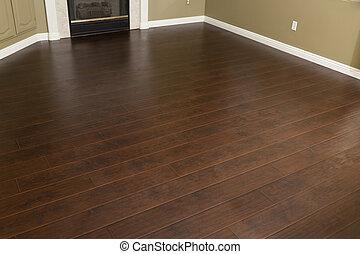 新近, installed, 布朗, laminate, 地板, 同时,, baseboards, 在中, 家