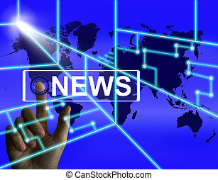 新闻, 屏幕, 显示, 全世界, 报纸, 或者, 媒介, 信息