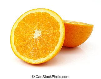 新鮮なオレンジ, フルーツ, 切口, 隔離された, 白