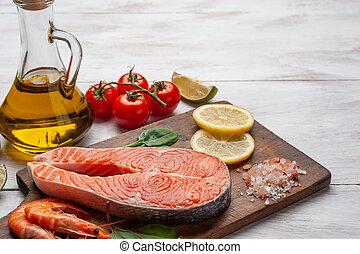 新鮮なサケ, エビ, bord, 魚
