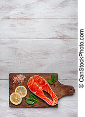 新鮮なサケ, bord, 魚, レモン