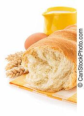 新鮮なパン, 隔離された, 白