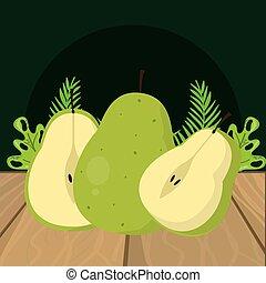 新鮮な果物, ナシ, 緑, 漫画