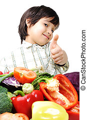 新鮮な野菜, ポジティブ, 子供