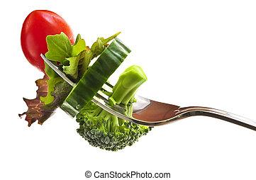 新鮮な野菜, 上に, a, フォーク
