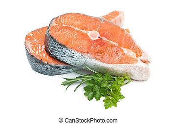新鮮な魚, ステーキ, 鮭, 未加工