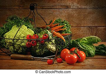 新鮮地, 挑, 蔬菜, 在, 籃子