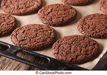 新鮮地, 烘烤, 巧克力的小甜餅, 上, a, 燒硬圖表, close-up., 水平