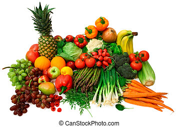 新鮮的蔬菜, 以及, 水果