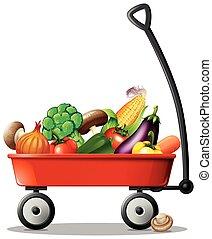 新鮮的蔬菜, 在, 紅的運貨馬車