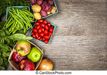 新鮮的蔬菜, 市場, 水果