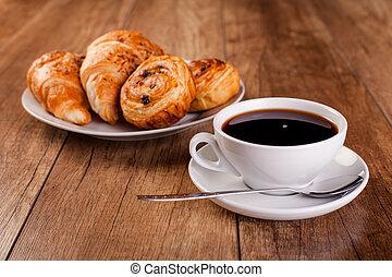 新鮮, 咖啡, croissant