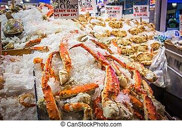 新鮮, 國王crab, 腿, 在, 梭子魚, 地方, 在, seattle