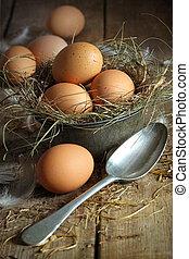 新鮮, 布朗, 蛋, 在, 老, 罐子容器, 由于, 勺