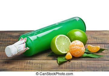 新鮮, 柑桔, 以及, a, 瓶子, ......的, 汁