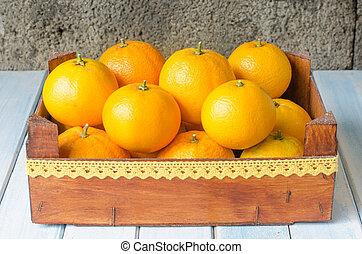 新鮮, 橙, 在, 木制, box.