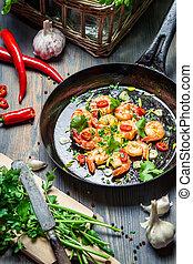 新鮮, 烹調, 蝦, 藥草
