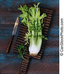 新鮮, 芹菜, 綠色, 木制, 莖, 板