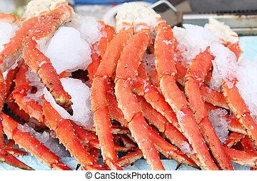 新鮮, 螃蟹, 腿, 在, a, 海鮮, 市場
