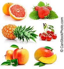 新鮮, 離開, 集合, 綠色, 水果