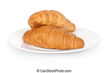 新鮮, croissant, 盤子