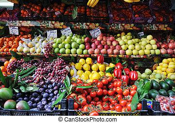 新鲜的水果和蔬菜, 在, 市场