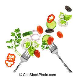 新鲜的混合蔬菜, 同时,, 银, 叉子, 隔离, 在怀特上