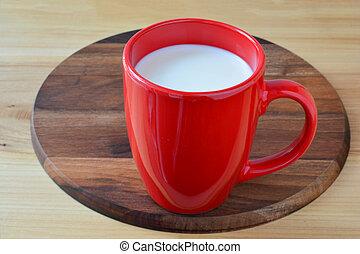 新鲜的牛奶, 红的杯